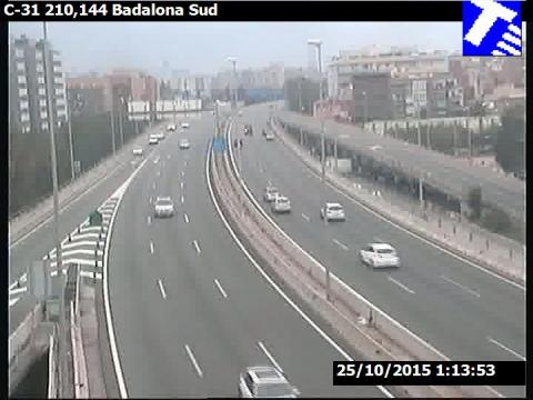 Traffic of the C-31 (Km 210.15) at Badalona