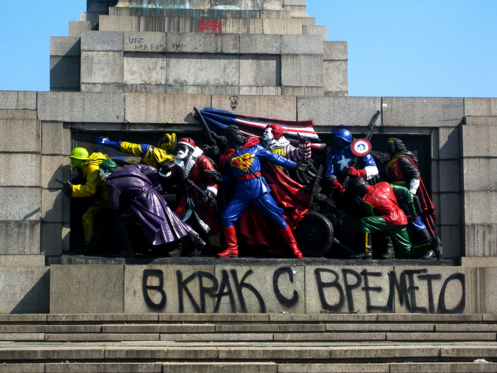 Vandalized Soldiers of the Monument to the Soviet Army